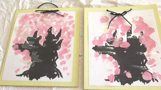 大人の絵具あそび桜を描く